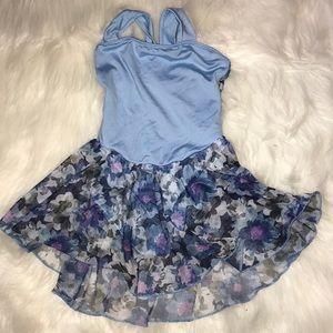 Blue Floral Skirted leotard